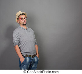 Fashionable hipster man in studio - Fashionable hipster man...