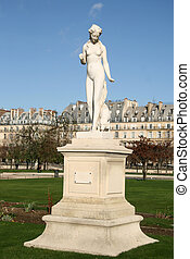 Statue of nymphe in Tuileries Garden, Paris, France