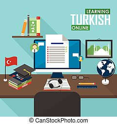 E-learning Turkish language. - Flat design vector...