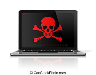Laptop with a pirate symbol on screen. Hacker concept - 3D...