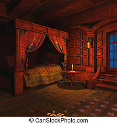 Pirate Captains Cabin - 3 D Render of an Pirate Captains...