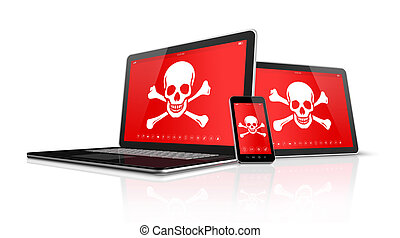 Laptop tablet pc and smartphone with pirate symbols on...