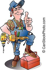 A handyman - Vector cartoon illustration of a handyman