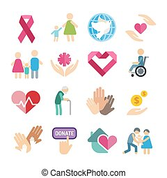 Charity flat icons set. Charity logo icons. Charity...
