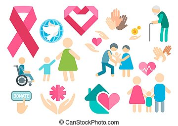 Charity flat icons set Charity logo icons Charity silhouette...