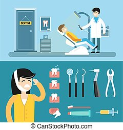 Dentist doctors office and patient with toothache - Dentist...