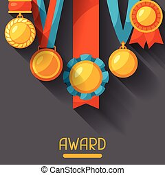 Sport or business background with medal award