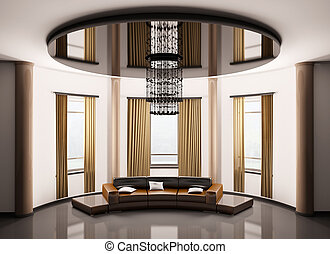 Round room interior 3d - Round room with round brown sofa...