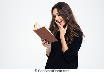 Portrait of a laughing woman reading book