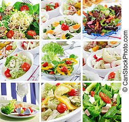 Healthy food collage - Different delicious vegetable and...