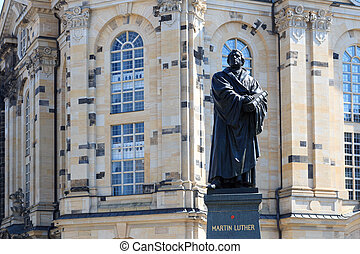Martin Luther monument on Neumarkt in front of Frauenkirche,...