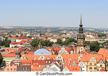 View of Dresden cityscape with palace Zwinger and tower...