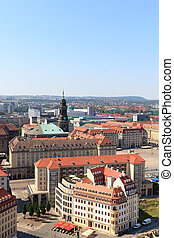 View of Dresden cityscape with square Altmarkt (old market)...