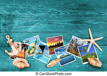 travel photos and seashells on azure wood background