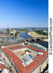 View of Dresden cityscape with river Elbe, Saxon Standehaus...
