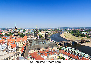 View of Dresden cityscape with river Elbe, Saxon Standehaus,...