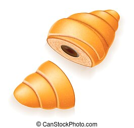 crispy croissant with the broken chocolate filling vector illustration