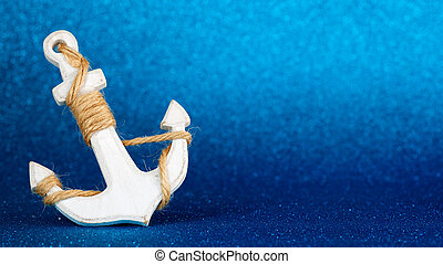 white anchor isolated in a blue glistening backdrop