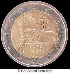 Commemorative two euro coin issued by Italy in 2009 and...