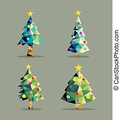 Christmas tree set low poly triangle ornaments