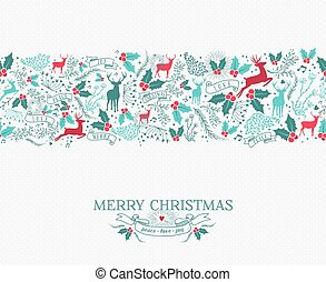 Merry christmas seamless pattern reindeer holly