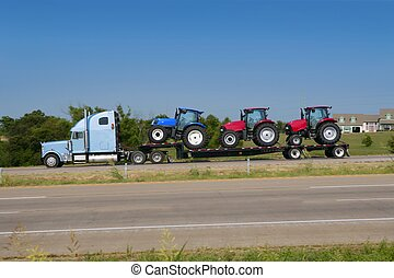 Lorry truck transport with three agriculture tractor