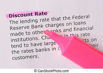 Discount Rate words highlighted on the white background