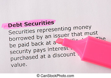 Debt Securities words highlighted on the white background