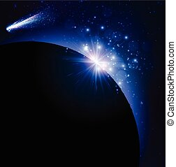Earth planet background - Earth planet background with comet...