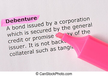 Debenture   words highlighted on the white background