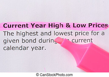 Current Year High and Low Prices - Current Year High Low...