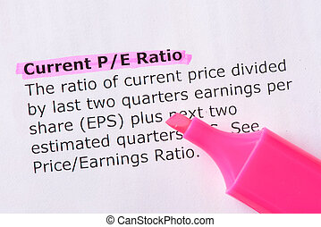Current P/E Ratio words highlighted on the white background...
