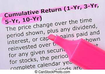 Cumulative Return 1-Yr, 3-Yr, 5-Yr, 10-Yr words highlighted...