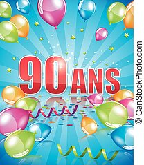 French birthday card 90 years