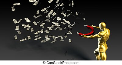 Businessman Pulling Money with a Magnet - Businessman...