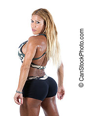 Female Bodybuilder - A blonde female bodybuilder isolated on...