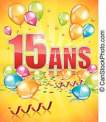 French birthday card 15 years