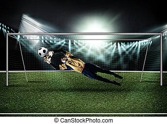 Best goalkeeper - Goalkeeper in gates jumping to catching...