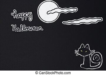 halloween decorations cat, moon, clound and Happy Halloween...