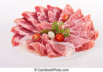 plate of bacon,ham,salami