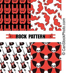 Rock pattern. Set seamless patterns  theme of rock music. Rock hand Symbol background. Texture from hearts. Electric guitar,  repeating background. Skull with wings pattern.