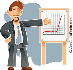 Business man and the presentation of sucsess - Vector image...