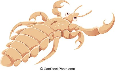 Cartoon Louse - Vector image of a cartoon white louse