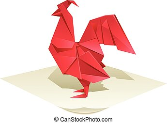 Origami rooster - Vector image of an origamy red rooster