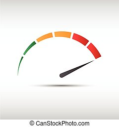 Color vector tachometer, speedometer icon, performance...