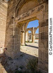 View through Saint Mamas Gothic Church ruins at the deserted...