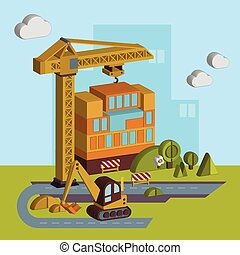 Construction of Building Vector Illustration in Flat Style -...
