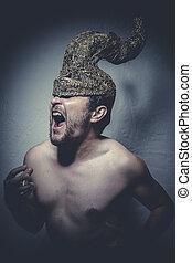 Horned, pelado, homem, com, capacete, guerreira, trombetas,...