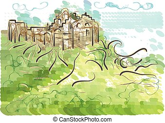 Ireland abstract silhouette of castle on green background