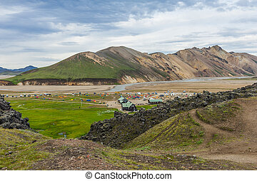 Landmannalaugar camp - Camp with tents at Landmannalaugar,...